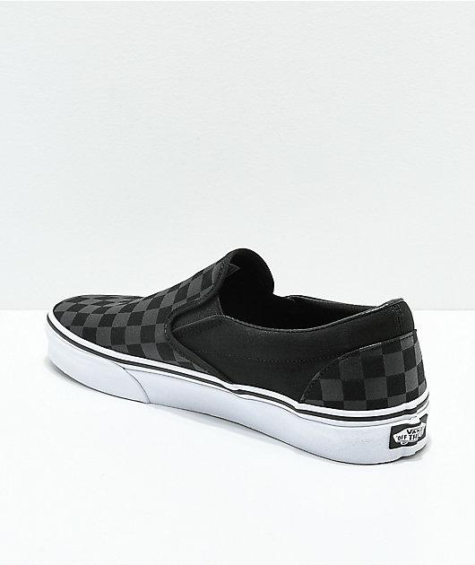 Vans Slip-On zapatos de skate negros y grises de cuadros