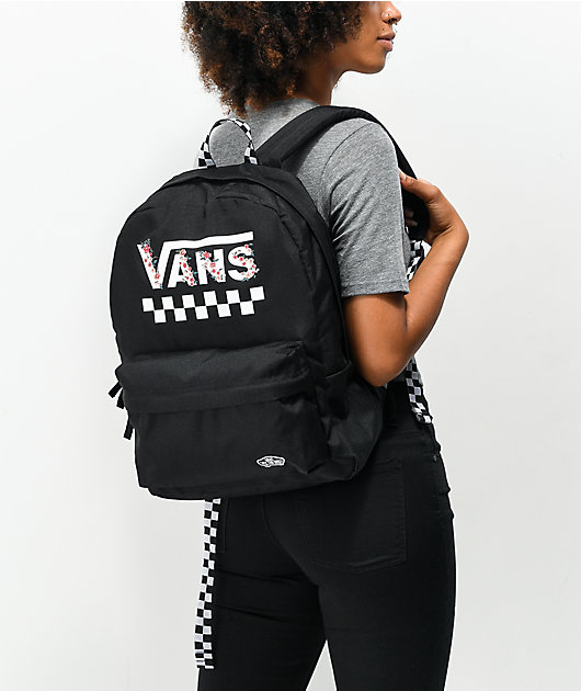 Vans Sporty Realm Black & Floral Checkerboard Backpack