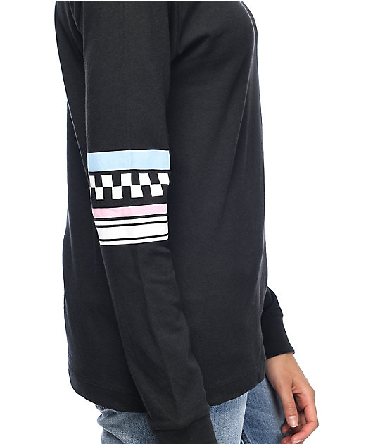 Vans Stripe Black & Silver Long Sleeve T-Shirt