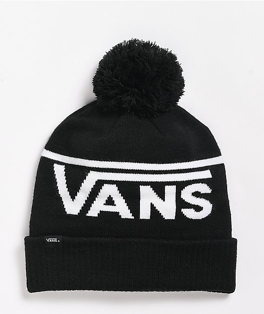 Vans Striped Black Pom Beanie