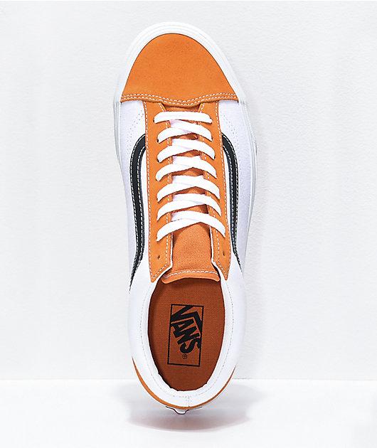 Vans Style 36 Apricot Orange, White & Black Skate Shoes