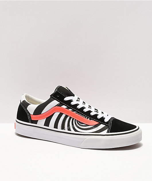 Vans Style 36 Black & Fiery Coral Skate Shoes