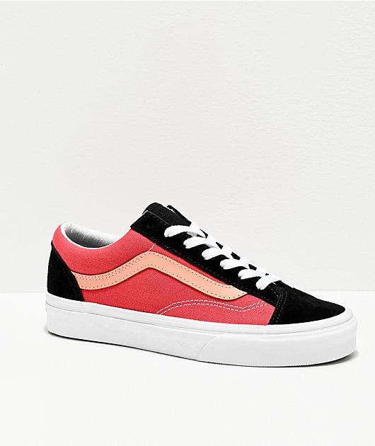 Vans Style 36 Salmon & Black Skate Shoes