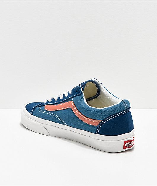 Vans Style 36 Vintage Sport Blue & Peach Skate Shoes