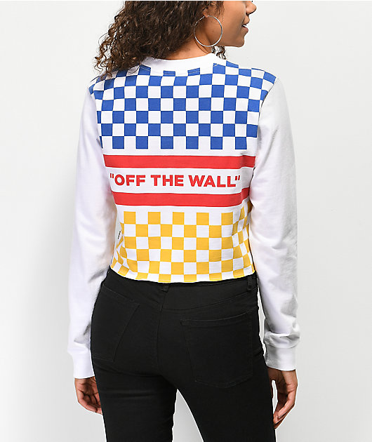 Vans White & Primary Checkered Crop Long Sleeve T-Shirt
