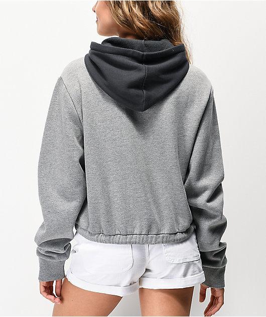 Vans sudadera con capucha corta gris con media cremallera