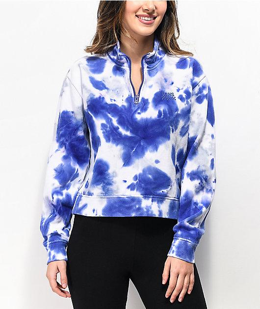 Vans sudadera corta de tie dye azul con cuello simulado