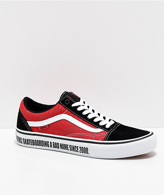 Vans x Baker Old Skool Pro Black, White & Red Skate Shoes