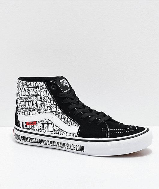 Vans x Baker Sk8-Hi Pro Black & White Skate Shoes