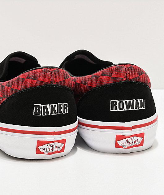 Vans x Baker Slip-On Pro Rowan Speed Black & Red Skate Shoes