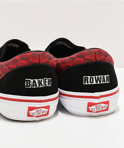 Vans x Baker Slip-On Pro Rowan zapatos de skate negros y rojos