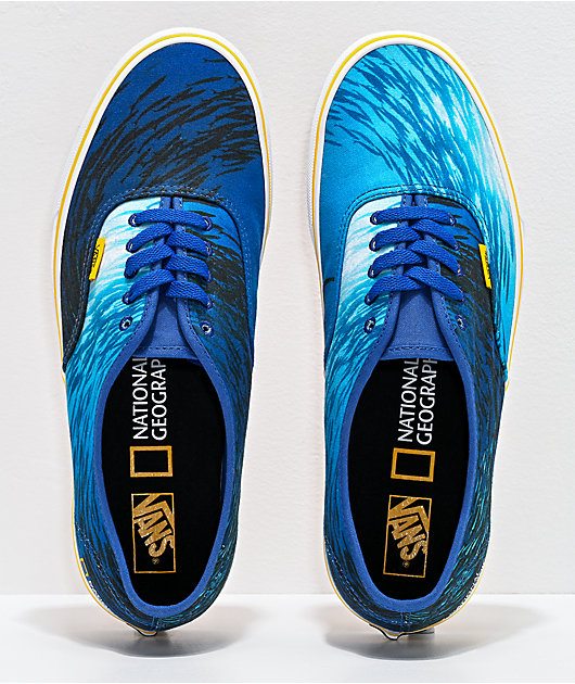 Vans x National Geographic Authentic Ocean & True White Skate Shoes