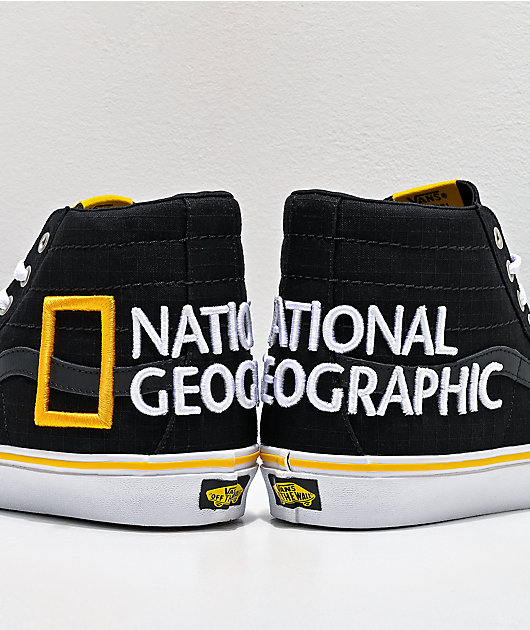 Vans x National Geographic Sk8-Hi Reissue 138 Logo Black & Yellow Skate Shoes