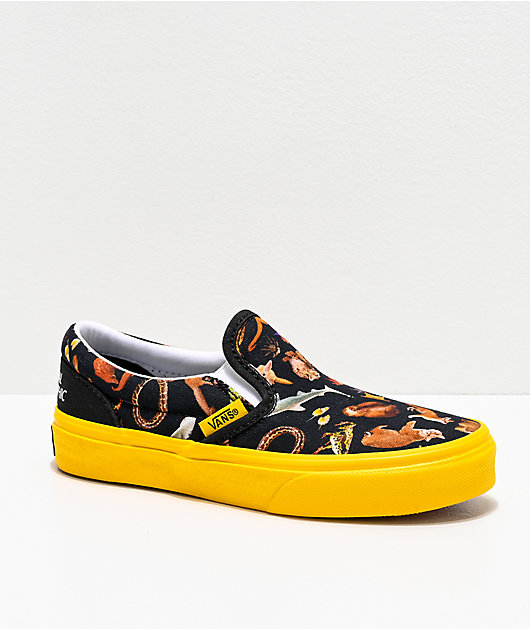 Vans x National Geographic Slip-On Photo Ark Black & Yellow Skate Shoes