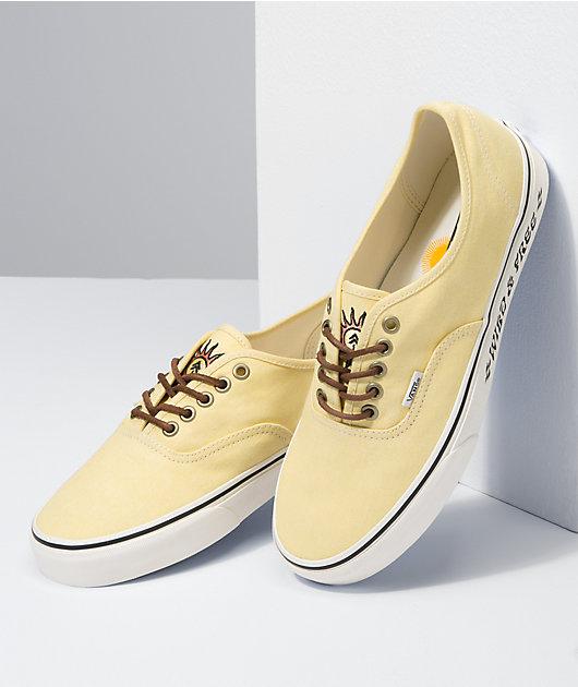 Vans x Parks Project Authentic Pale Yellow & White Skate Shoes
