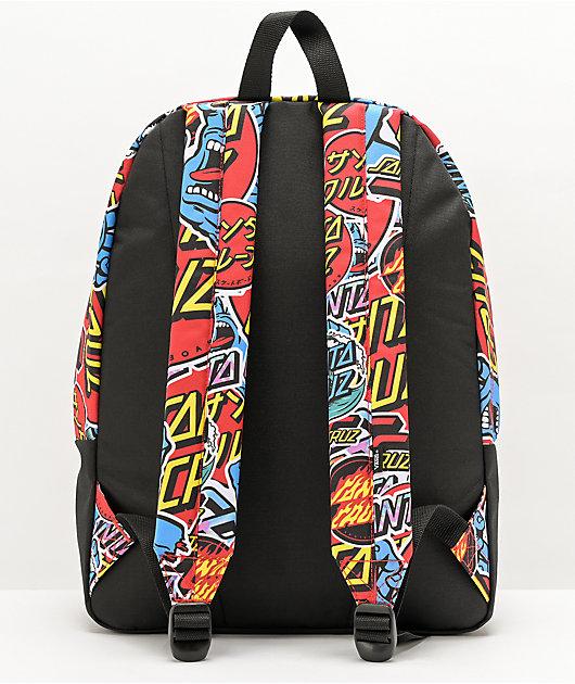 Vans x Santa Cruz Allover Print Red & Black Backpack