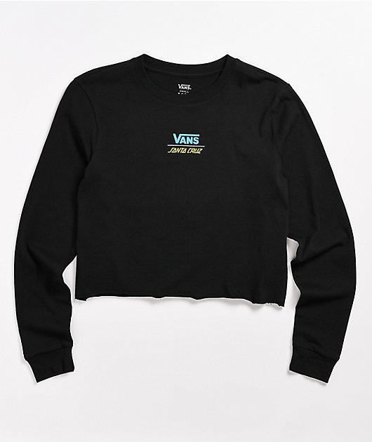Vans x Santa Cruz Screaming Check Black Crop Long Sleeve T-Shirt