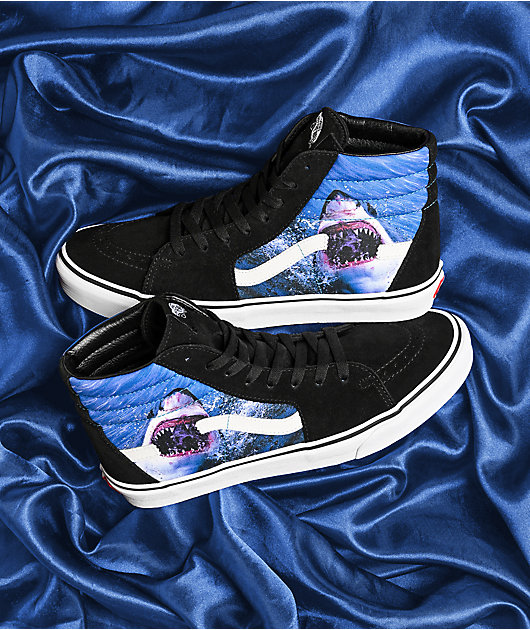 Vans x Shark Week Sk8-Hi Black & White Skate Shoes