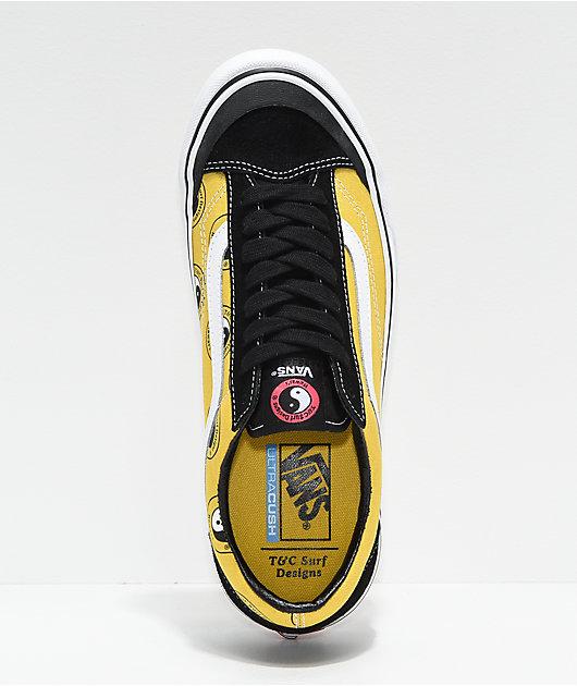Vans x T&C Surf Designs Style 36 Black, Yellow & White Skate Shoes
