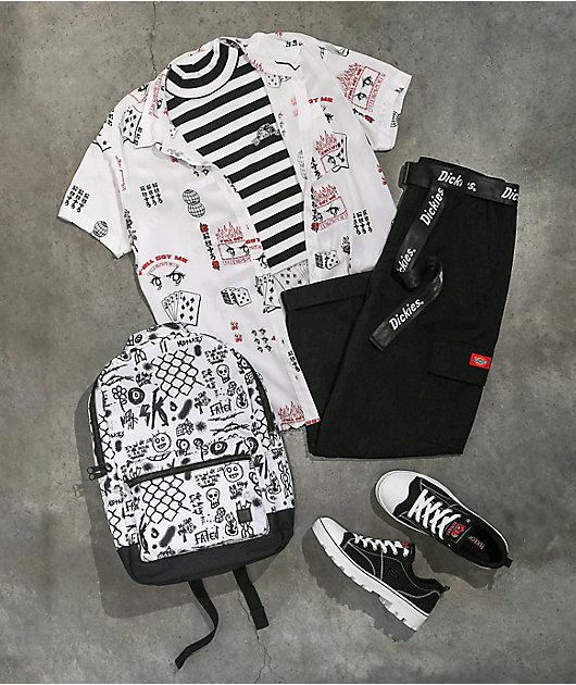 Vitriol Caedia Allover Anime Print White Short Sleeve Button Up Shirt