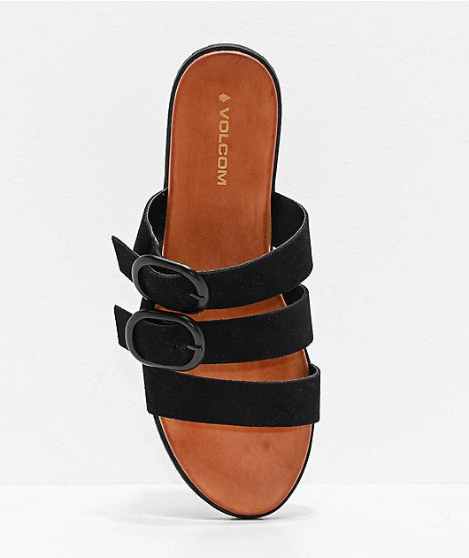 Volcom Buckle Up Buttercup Black & Tan Sandals