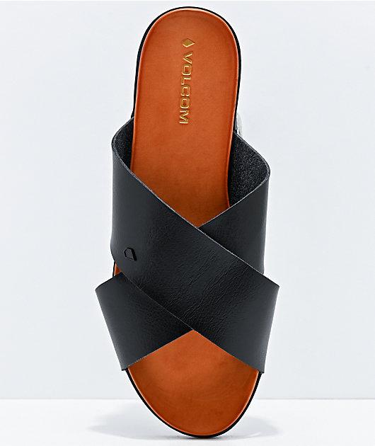 Volcom Double Cross Black Slide Sandals
