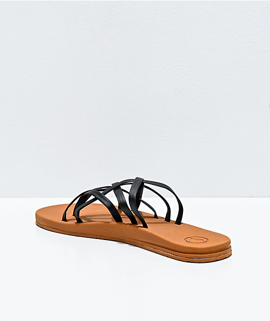 Volcom E-Cliner Black & Tan Strappy Sandals