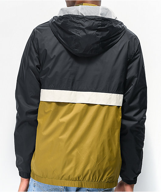 Volcom Ermont Black & Green Colorblock Windbreaker Jacket