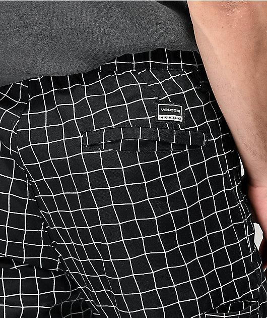 Volcom Moover Elastic Waist Black & White Grid Chino Pants