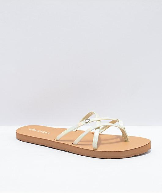Volcom New School II Glow White & Tan Thong Sandals