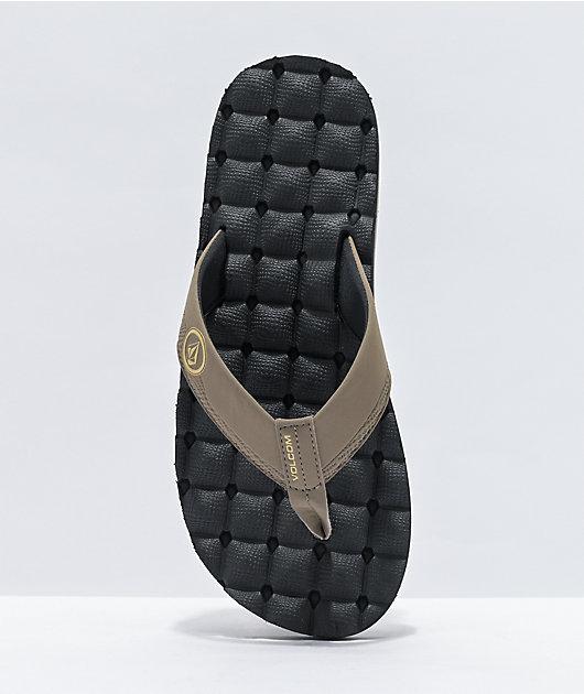 Volcom Recliner Black & Khaki Sandals