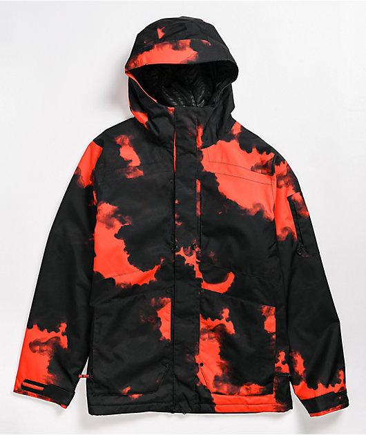 Volcom Scortch Insulated Red & Black Tie Dye 15K Snowboard Jacket