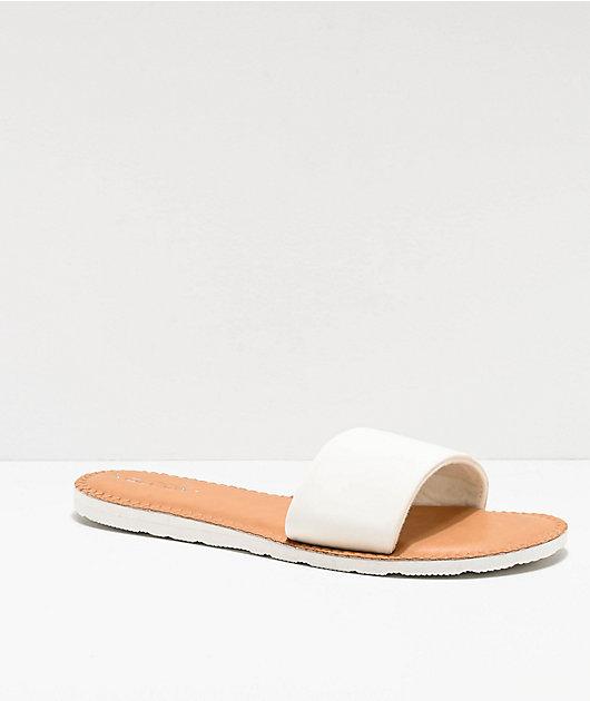Volcom Simple White & Tan Slide Sandals