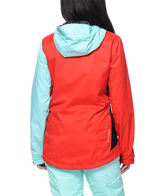 Volcom Stone Red & Mint 10K Snowboard Jacket