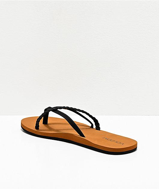 Volcom Thrills II Black & Khaki Thong Sandals