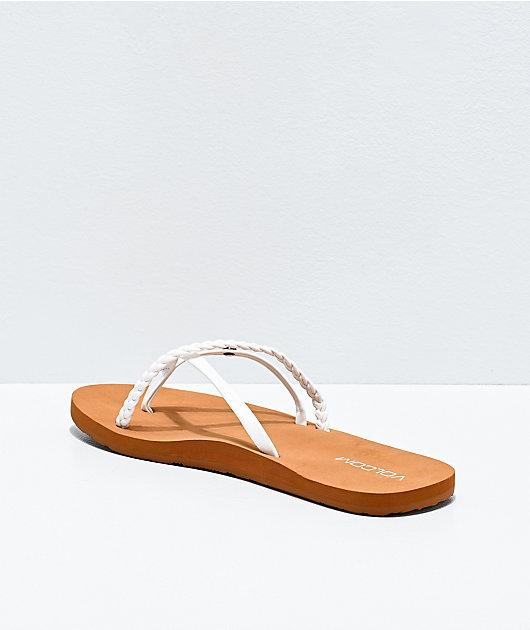 Volcom Thrills II White & Brown Thong Sandals