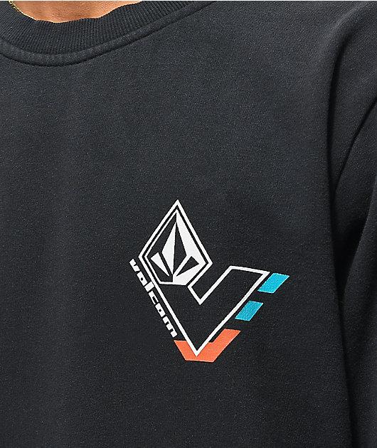 Volcom V-Line Washed Black Crew Neck Sweatshirt