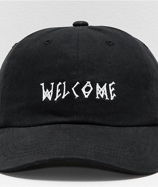 Welcome Scrawl Peached Black Strapback Hat