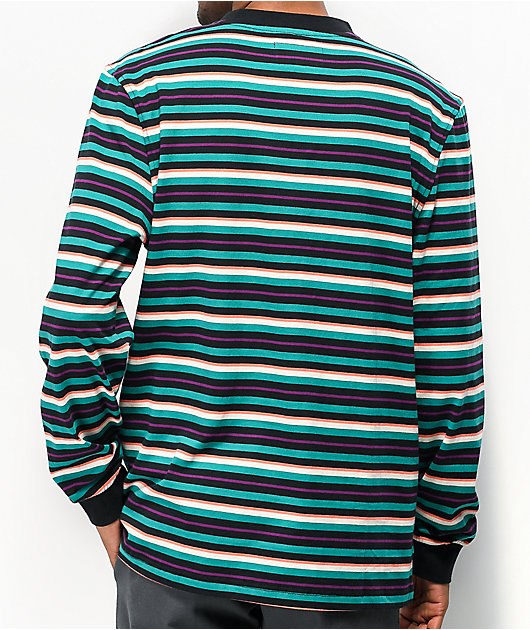 Welcome Surf Stripe Teal, Black & White Long Sleeve T-Shirt