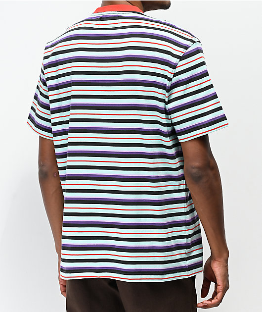 Welcome Surf Stripes Red, Purple & Mint Green Striped T-Shirt