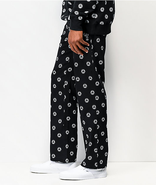 Welcome Tali-Dot Allover Print Black Elastic Waist Pants