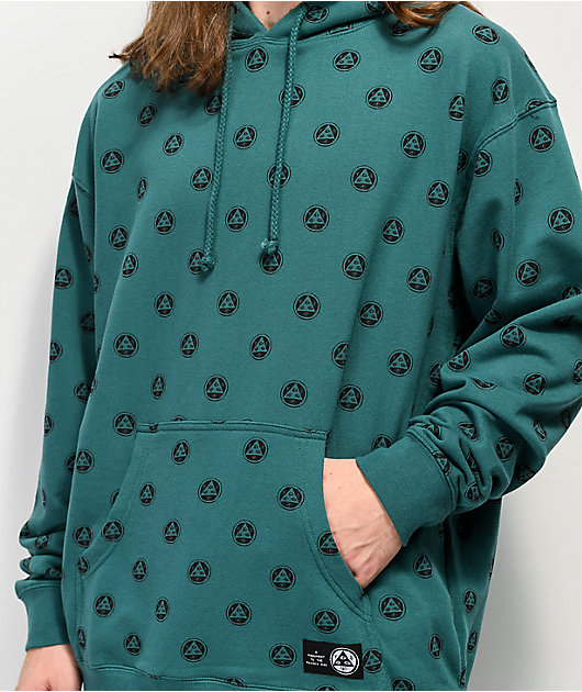 Welcome Tali-Dot Allover Print Teal Hoodie