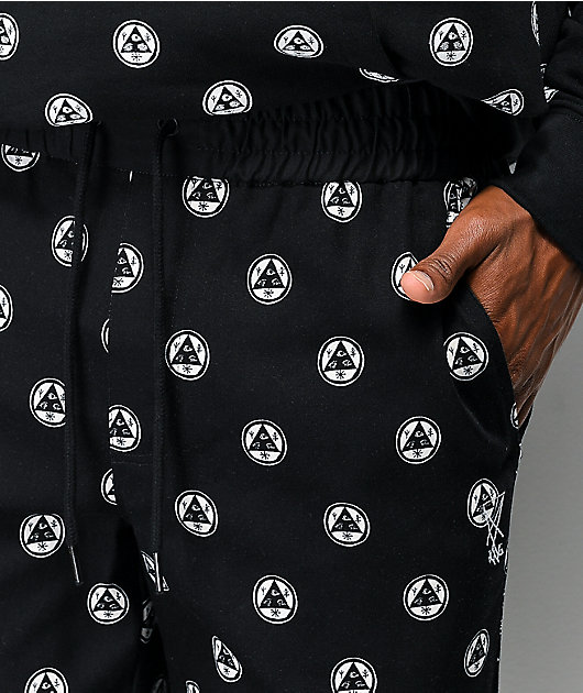 Welcome Tali-Dot Allover pantalones negros de cintura elástica.