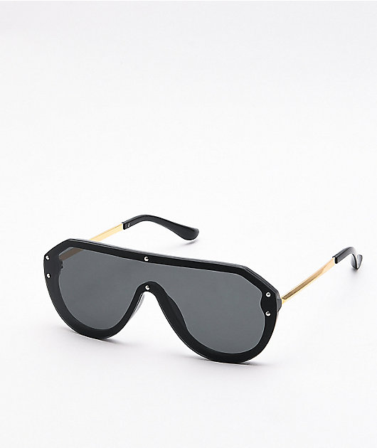 Willow Black Oversized Shield Sunglasses