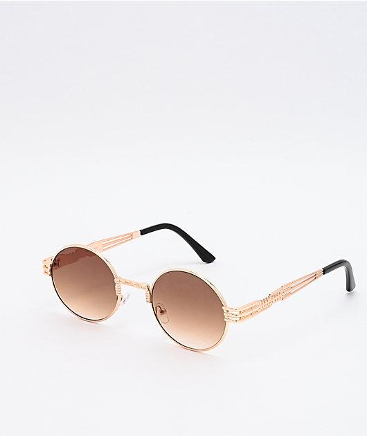 Wiz Gold & Brown Round Sunglasses