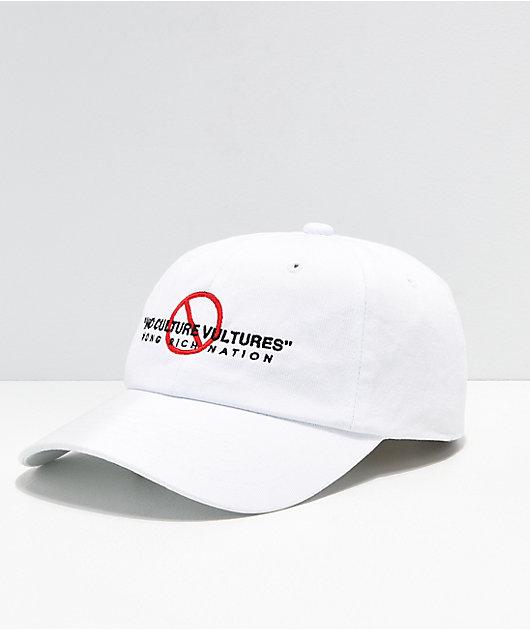 YRN No Culture Vultures White Strapback Hat
