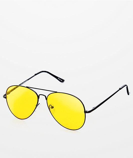 Yellow & Black Aviator Sunglasses