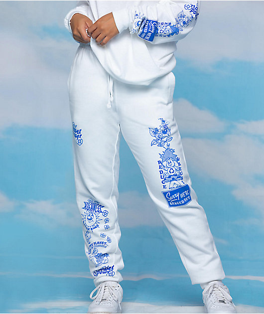 Your Highness Flower Power White Jogger Sweatpants