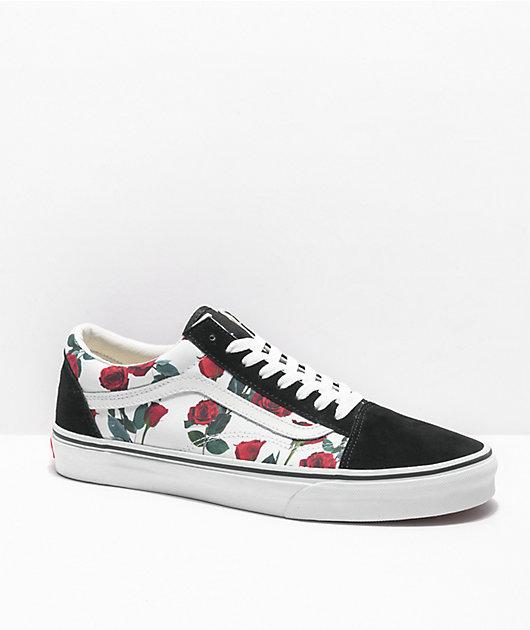 Zapatillas de skate Vans Old Skool Red Roses negras, blancas y rojas