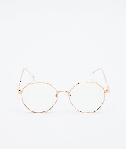 Zeb Gold & Clear Hexagon Sunglasses